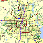 Map from Houston Intercontinental Airport to Brazosport Area thumbnail