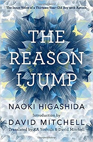 Cover of the book THE REASON I JUMP with a flower and surrounded by butterflies