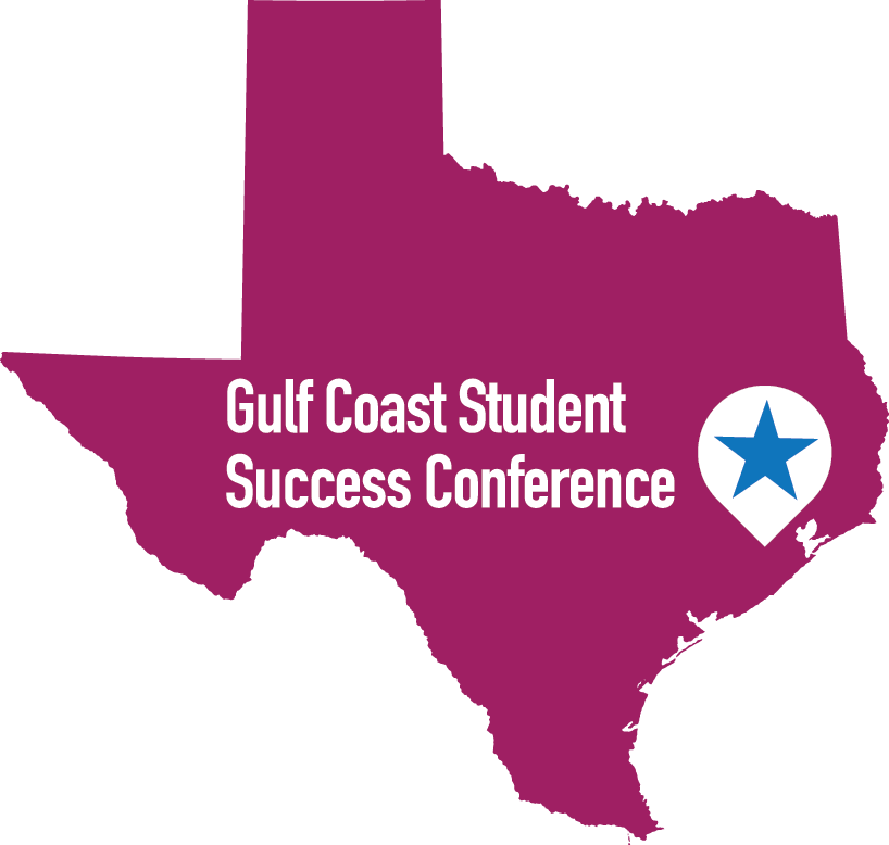 Purple image of the state of texas with a star in the gulf coast region. Text reads: Gulf Coast Student Success Conference 2017 Creativity and Student Success